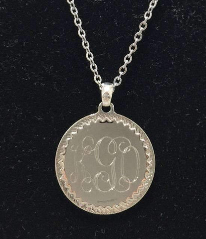 Large Engraved Charm with Decorative Edge Engraved Necklace