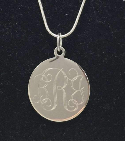 Large Engraved Charm with Snake Chain