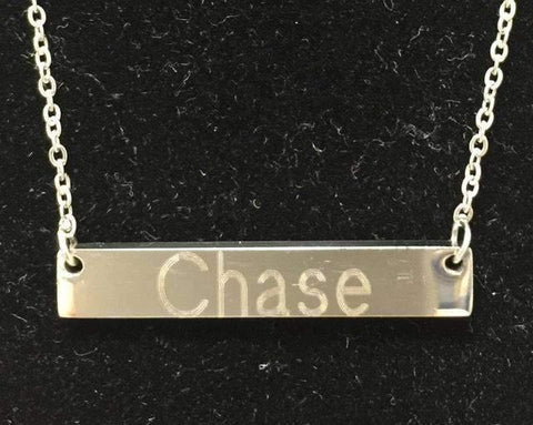 Stainless Steel Engraved Bar Necklace Block Font