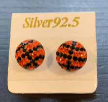 Load image into Gallery viewer, Basketball Sterling Silver Rhinestone Post Earrings 8MM,earrings