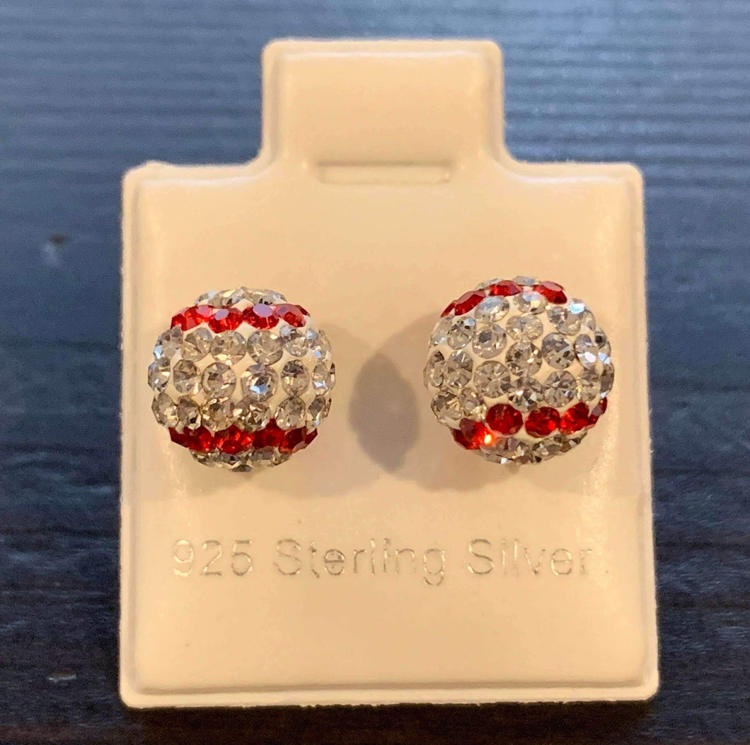 Baseball Sterling Silver 8MM Round Earrings