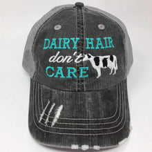 Load image into Gallery viewer, Dairy Hair Don't Care Cow Distressed Trucker Cap