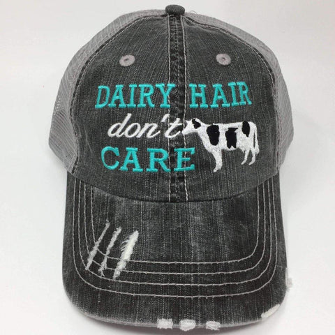 Dairy Hair Don't Care Cow Distressed Trucker Cap