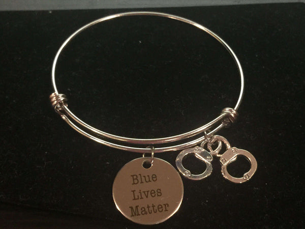 Blue Lives Matter Police Theme Adjustable Bangle