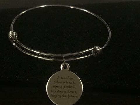 Teacher Theme Adjustable Bangle Bracelet
