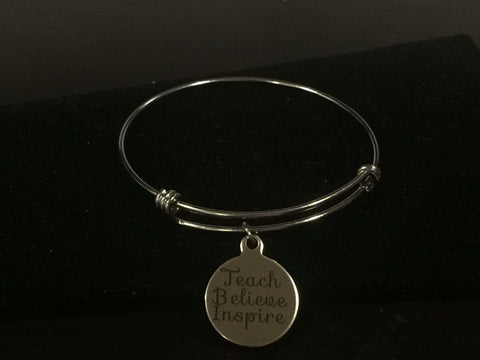 Teach Believe Inspire Teacher Adjustable Bangle Bracelet