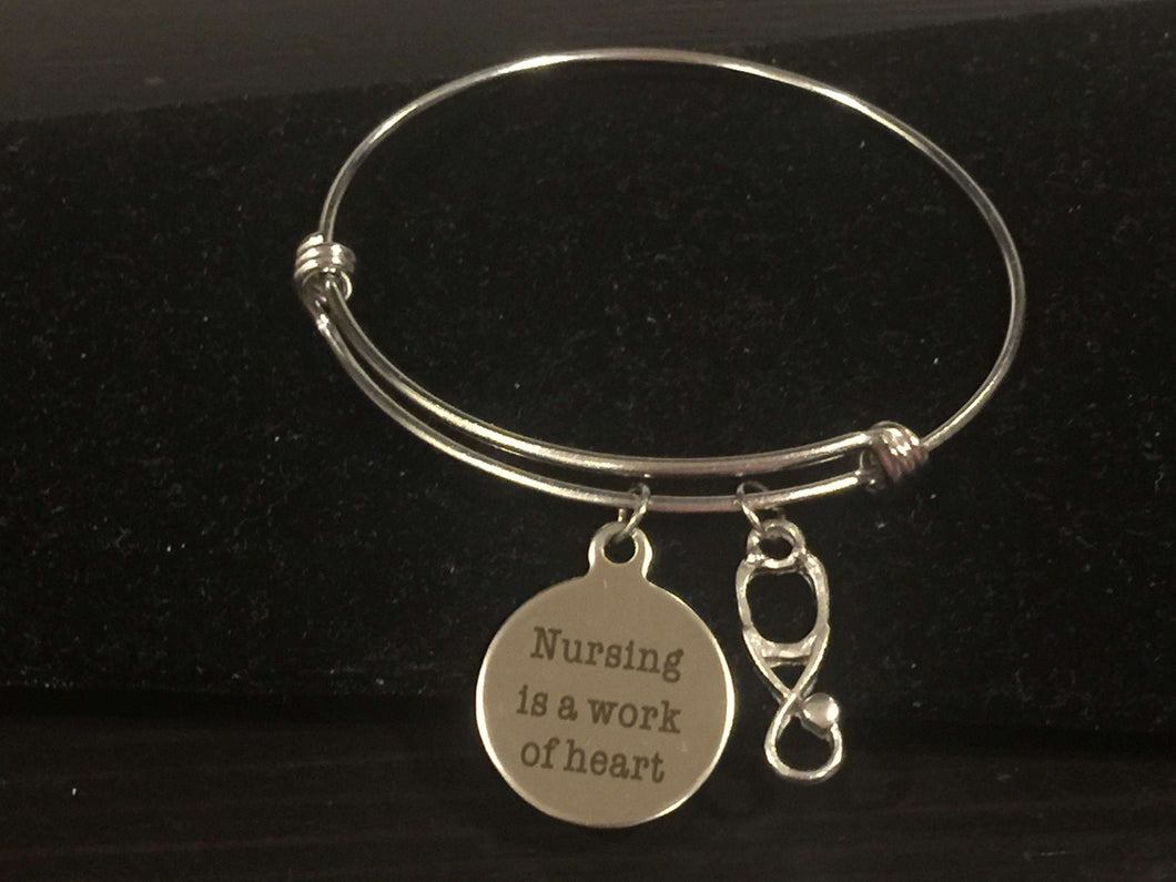 Nursing Is A Work Of Heart with Stethoscope Adjustable Bangle