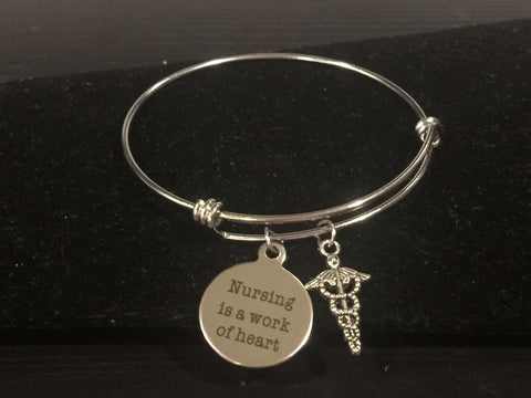 Nursing is a Work of Heart Adjustable Bangle Bracelet