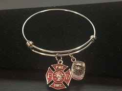 Fire Maltese Cross Adjustable Bangle Bracelet