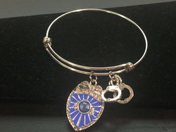 Police Theme Adjustable Bangle Bracelet