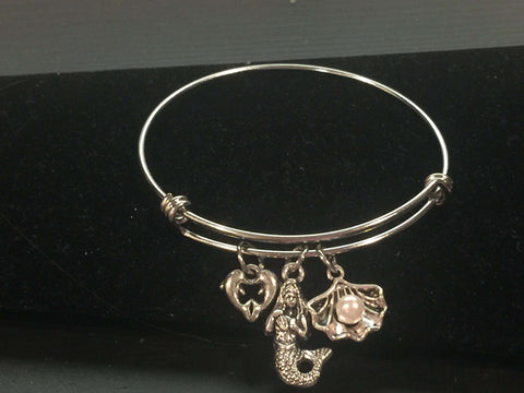 Mermaid, Dolphin and Shell Adjustable Bangle Bracelet