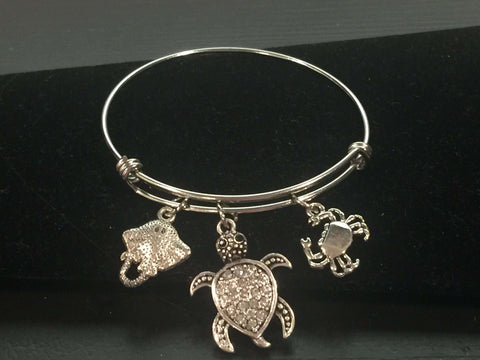Sea Animal Theme Adjustable Bangle Bracelet