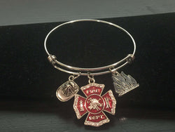 Fire Theme Adjustable Charm Bracelet
