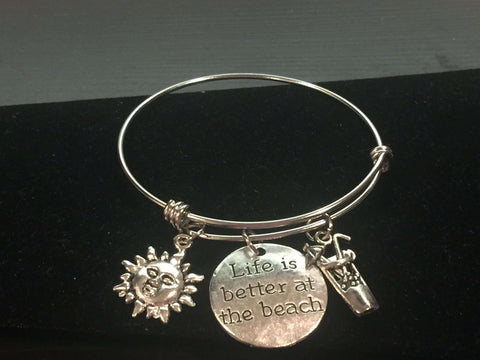 Life is Better at the Beach Adjustable Bangle Bracelet