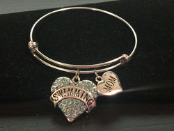 Swim Mom Adjustable Bangle Bracelet