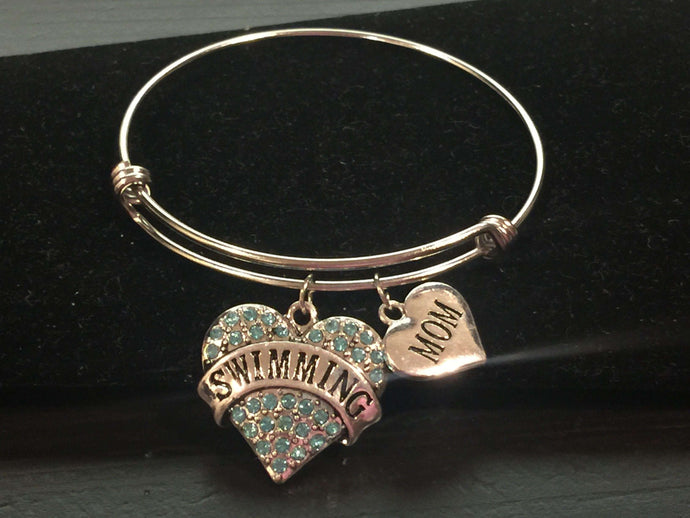 Swim Mom Adjustable Bangle Bracelet,Bracelets