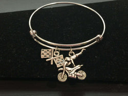 Motorcross Racing Adjustable Bangle Bracelet