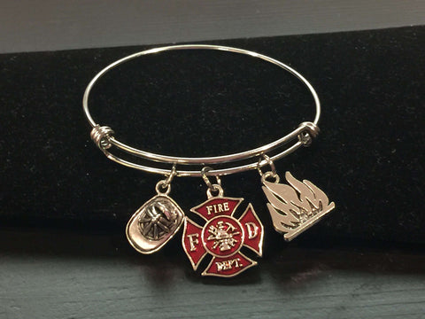 Fire Department Theme Adjustable Bangle Bracelet