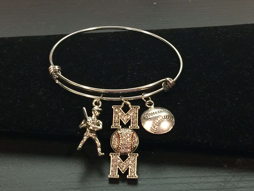 Baseball Mom Theme Adjustable Bangle Bracelet