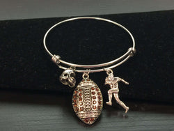 Football Theme Adjustable Bangle Style Bracelet
