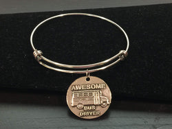 Awesome School Bus Driver Adjustable Bangle Bracelet