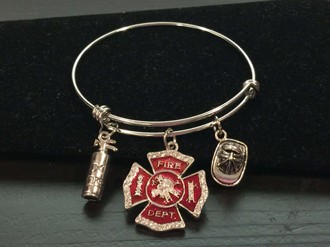 Fire Department Themed Adjustable Bangle Bracelet