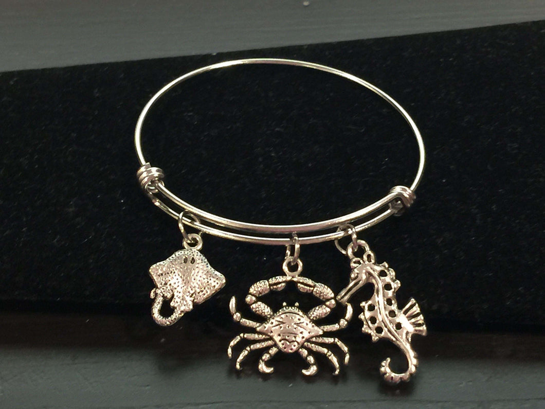 Sea Life Nautical Theme Adjustable Bangle Bracelet