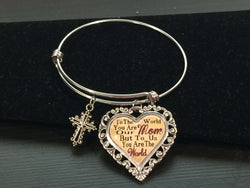To Us You Are the World Mom Adjustable Bangle Bracelet