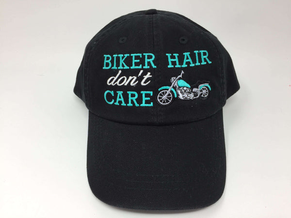 Biker Hair Don't Care with Motorcycle Embroider Baseball Cap
