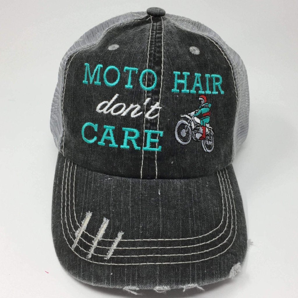 Moto Hair Don't Care Distressed Trucker Cap