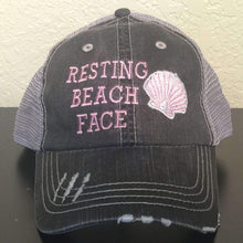 Load image into Gallery viewer, Resting Beach Face Distressed Trucker Cap