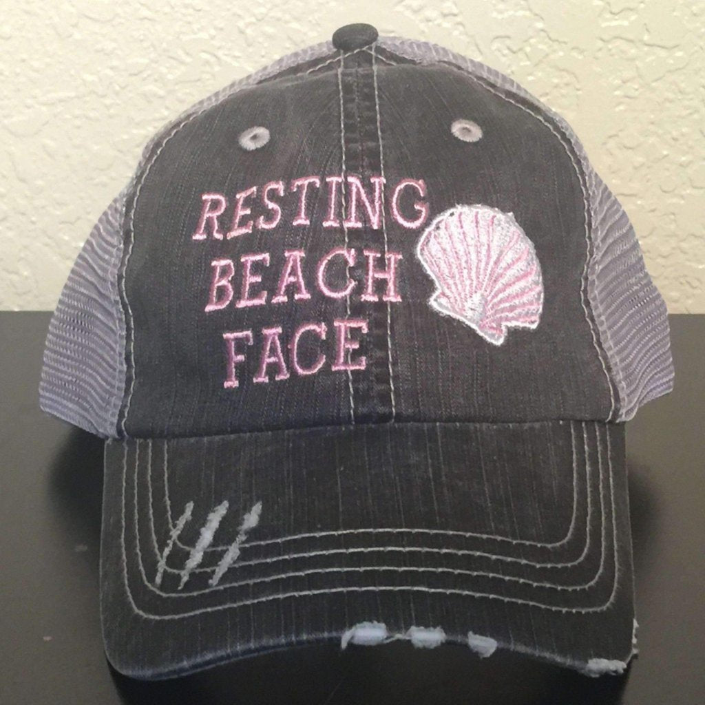 Resting Beach Face Distressed Trucker Cap