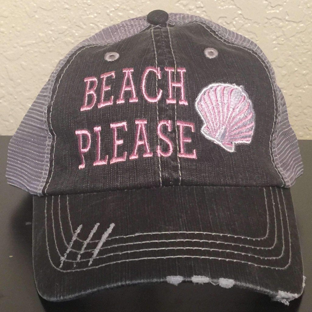 Beach Please Distressed Trucker Cap