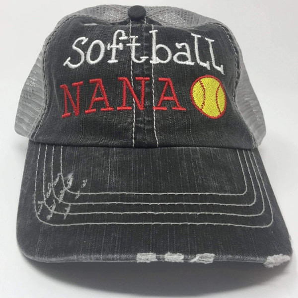 Softball NANA Distressed Trucker Cap