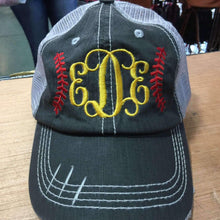 Load image into Gallery viewer, Softball Stitches Monogrammed Trucker Cap