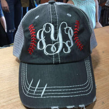 Load image into Gallery viewer, Baseball Stitches Monogrammed Trucker Cap