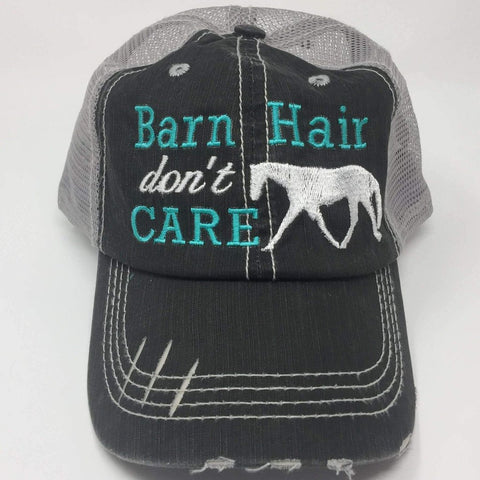 Barn Hair Don't Care with Horse Distressed Trucker Cap