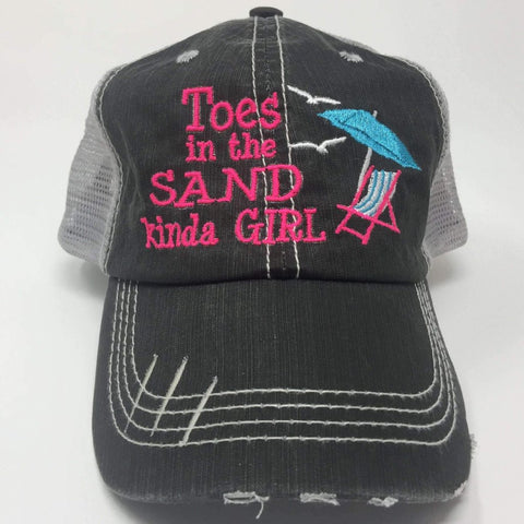 Toes in the Sand Kinda Girl, Beach Chair Umbrella Trucker Cap
