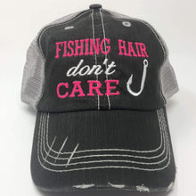 Load image into Gallery viewer, Fishing Hair Don't Care with Fish Hook Distressed Trucker Cap