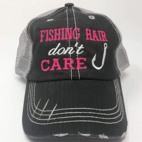 Fishing Hair Don't Care with Fish Hook Distressed Trucker Cap