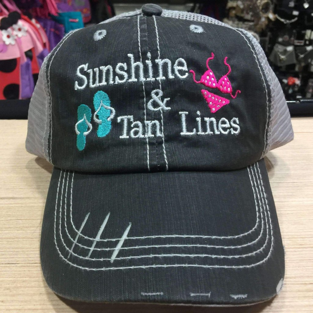 Sunshine & Tan Lines Distressed Trucker Cap
