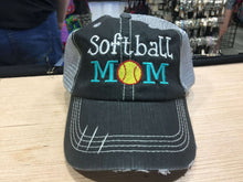 Load image into Gallery viewer, Softball Mom Distressed Trucker Cap