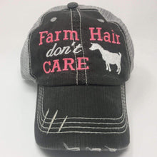 Load image into Gallery viewer, Farm Hair Don't Care with Goat Vintage Trucker Cap,Caps