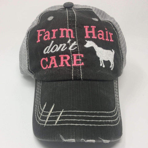 Farm Hair Don't Care with Goat Vintage Trucker Cap