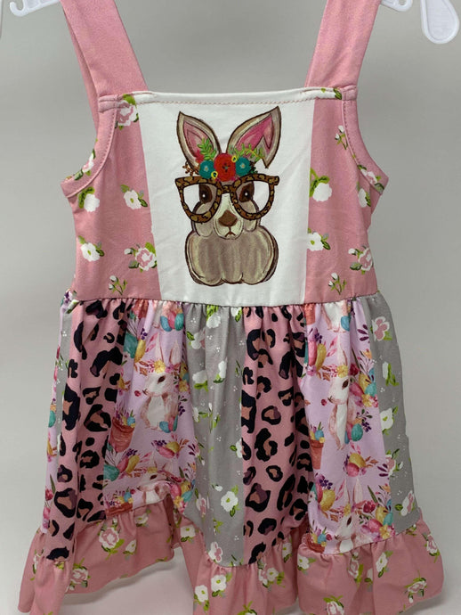 Cute Bunny with Glasses Twirl Dress,Kids Clothes