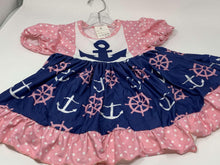 Load image into Gallery viewer, Anchor Print Nautical Twirl Dress,Kids Clothes