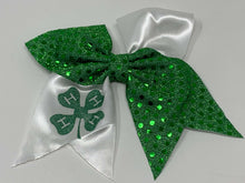 Load image into Gallery viewer, 4H Green and White Hairbow,Kids Hairbow