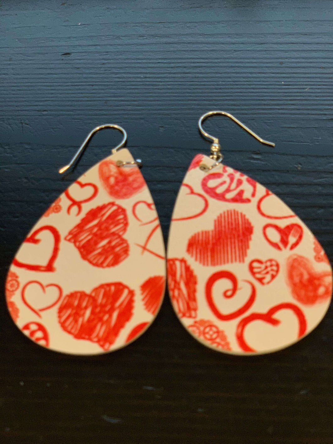 Faux Leather Valentine Earrings White with Red Hearts,Live Show