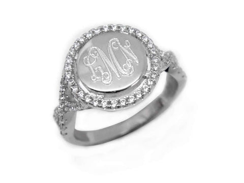 Engraved Sterling Silver Ring Ella