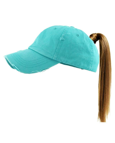 Pony Tail Vintage Distressed Monogrammed Cap